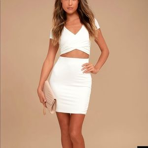 Lulu's two-piece white skirt and crop top NWT